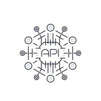 API-Symbol, Anwendungsprogrammierschnittstelle, Softwareprotokolle, Linienvektor vektor
