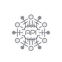 api-ikon, applikationsprogrammeringsgränssnitt, programvaruprotokoll, linjevektor vektor