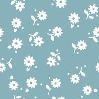nahtloses Sommermuster mit weißen Blumen auf blauem Hintergrund. Vektorillustration. vektor