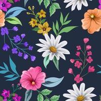 buntes nahtloses Muster mit botanischem Blumenmuster auf dunklem Hintergrund. vektor
