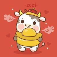 Tierkreis des Ochsenkarikaturtiercharakters traditionelles glückliches chinesisches neues Jahr, das Goldbarren hält. niedlicher Kuhvektor kawaii Stier. Ich wünsche Ihnen viel Glück für das kommende Jahr. vektor
