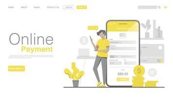 Online-Shopping und Online-Zahlung auf der Website oder in einer mobilen Anwendung vektor