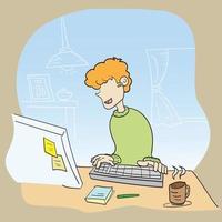 Der Mann arbeitet zu Hause am Computer, um von zu Hause aus zu arbeiten vektor