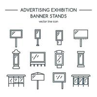 Werbetafeln und Banner-Display, Ausstellungsstand Icon Set vektor