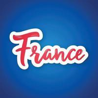 Frankreich - handschriftlicher Name des Landes. Aufkleber mit Beschriftung im Papierschnittstil. vektor