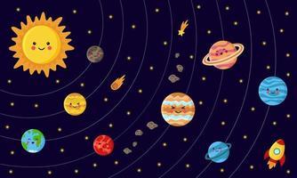 Sammlung von Sonnensystemplaneten. Schema des Sonnensystems. vektor