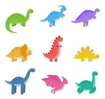 samling av tecknade färgglada dinosaurier på vit bakgrund. vektor