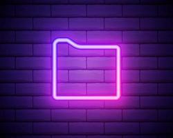 leuchtende Neonlinie Dokumentordner Symbol isoliert auf Backsteinmauer Hintergrund. Buchhaltungsbindersymbol. Buchhaltungsmanagement. Vektorillustration vektor