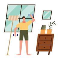 kvinna lyft vikter hemma vektor design