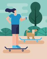 ung kvinna och hund på skateboards vektor
