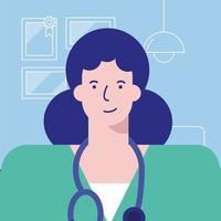 professionell kvinnlig läkare avatar karaktär vektor