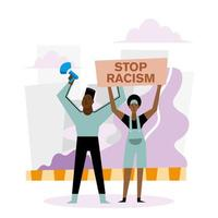 stoppa rasism svarta liv materia banner med megafon, kvinna och man vektordesign vektor