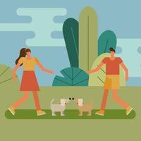 ungt par som går med hundarna