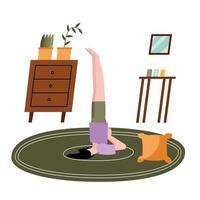kvinna gör yoga hemma vektor design