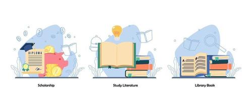 Diplom akademische Leistung. Lesebuch, Buchsammlung Icon Set. Stipendium, Studienliteratur, Bibliotheksbuch. Vektor flaches Design isolierte Konzeptmetapherillustrationen