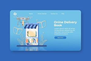 moderne flache Designvektorillustration. Online-Buchzustellungs-Landingpage und Web-Banner-Vorlage. digitaler Buchladen, Online-Shop, digitale Bibliothek, Lieferauftrag, Geschäftskonzept. vektor