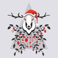 Rentierkopf mit Weihnachtsmütze und Weihnachtsbeleuchtung