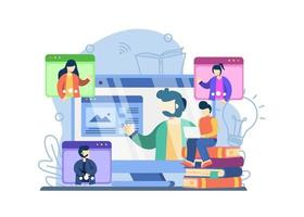 E-Learning-Konzept. Schüler macht Videokonferenz mit Lehrer. Fernunterricht, E-Learning, Online-Unterricht, digitales Klassenzimmer, Webkurse oder Tutorials. Vektorillustration für Web-Banner vektor