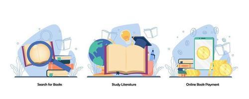 Bucherkundung, Lesebuch, Recherche, Online-Buchzahlungssymbolsatz. Suchbuch, Studienliteratur, digitaler Buchladen. Vektor flaches Design isolierte Konzeptmetapherillustrationen