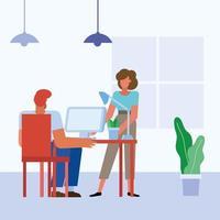 Teamwork-Konzept mit Frau und Mann im Büro vektor