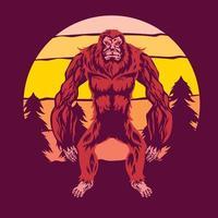Gehen Bigfoot oder Sasquatch mit Sonnenuntergang Hintergrund vektor