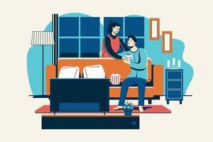romantiska par dricka varm dryck i vardagsrummet