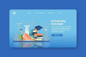 moderne flache Designvektorillustration. Universitäts- oder Collagen-Landingpage und Web-Banner-Vorlage. Forschung und Lernen, Literatur studieren, Online-Bildung, E-Learning, Fernunterrichtskonzept