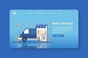 moderne flache Designvektorillustration. Buchzustellungs-Landingpage und Web-Banner-Vorlage. Lieferauftrag, digitaler Buchladen, digitale Bibliothek, Online-Shop, weltweiter Versand, Online-Buchfestival vektor
