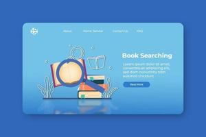 moderne flache Designvektorillustration. Buchsuche Zielseite und Web-Banner-Vorlage. digitaler Buchladen, digitale Bibliothek, Online-Lesebuch, Know-how, Download von Literatur, Online-Bildung. vektor