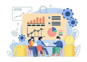 Geschäftsstrategiekonzept. Leute diskutieren Geschäftsstrategie mit Chat und Diagramm. Geschäftsidee, Strategie und Lösung, Problemlösung, Entscheidungsfindung. Grafikdesign für Web, mobile Apps, Banner. vektor