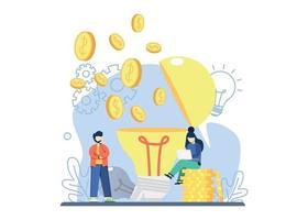 Geschäftsideenkonzept. Münze fliegen von Idee Lampe. Geschäftsidee, Strategie und Lösung, Unternehmensleistung, Problemlösung, Entscheidungsfindung, effektive Leistung, Roadmap abstrakte Metapher. vektor