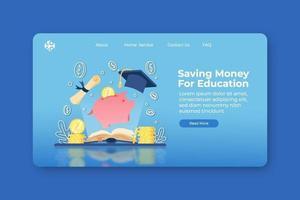 moderne flache Designvektorillustration. Sparen Sie Geld für die Zielseite für Bildung und die Web-Banner-Vorlage. Investition in Bildung, Stipendium, offenes Buch mit Sparschwein und Abschlusskappe. vektor