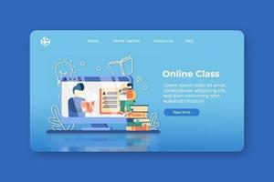 moderne flache Designvektorillustration. Online-Klassenzimmer-Landingpage und Web-Banner-Vorlage. Online-Unterricht, Webinar, digitales Klassenzimmer, Online-Kurse, Online-Bildung, E-Learning-Konzept vektor
