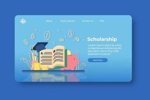 moderne flache Designvektorillustration. Stipendien-Landingpage und Web-Banner-Vorlage. Investitionen in Bildung, Studentendarlehen, Geld sparen für Bildung, globales Wirtschaftsstudium, Bildung im Ausland. vektor