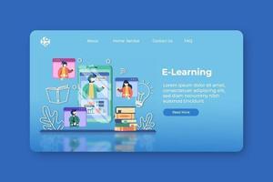 modern platt design vektorillustration. e-learning målsida och webb banner mall. digital utbildning, onlineundervisning, distansutbildning, hemundervisning, lära sig under karantän vektor
