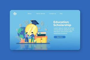 moderne flache Designvektorillustration. Landingpage für Bildungsstipendien und Website-Banner-Vorlage. globale Bildung, Fernunterricht, Studentendarlehen, Investitionen in Bildung, Bildung im Ausland. vektor