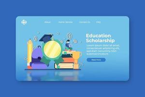 moderne flache Designvektorillustration. Landingpage für Bildungsstipendien und Web-Banner-Vorlage. Studentendarlehen, Investitionserziehung, Leistungserziehung, Universität, globale Bildung. vektor