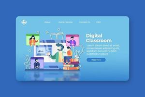 moderne flache Designvektorillustration. digitale Klassenzimmer-Landingpage und Website-Banner-Vorlage. E-Learning, Online-Bildung, Videokonferenz, Fernunterricht, Heimunterricht, digitale Bildung vektor
