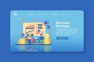 moderne flache Designvektorillustration. Zielseite für Geschäftsstrategie und Web-Banner-Vorlage. Geschäftsanalyse, Marketingstrategie, Geschäftsziel. vektor