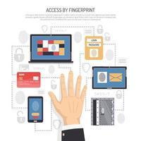 få tillgång till parol fingeravtryck illustration