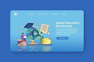 moderne flache Designvektorillustration. Zielseite für globale Bildungsstipendien und Web-Banner-Vorlage. Studentendarlehen, Investitionserziehung, Leistungserziehung, Universität, globale Bildung. vektor
