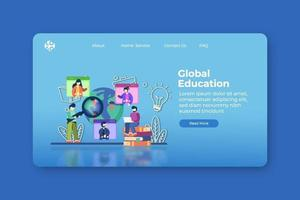 moderne flache Designvektorillustration. globale Bildungs-Landingpage und Web-Banner-Vorlage. Stipendium, E-Learning, digitale Bildung, Bildungsplattform, Heimunterricht, Fernunterricht vektor