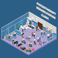Physiotherapie Rehabilitationsklinik isometrisches Interieur vektor