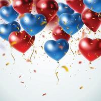 flygande realistiska glänsande ballonger vektor
