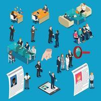 Rekrutierung Einstellung Personal Management isometrische Menschen vektor