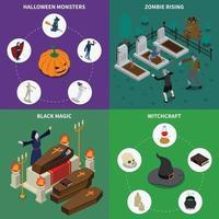 Monster Halloween isometrisch 2x2