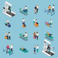 Physiotherapie Rehabilitation isometrische Menschen vektor