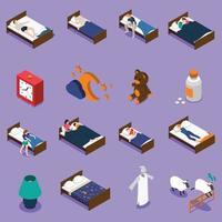 sömntid sömnstörningar isometriska ikoner vektor