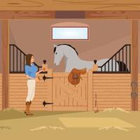 Pferdesport flache Zusammensetzung vektor