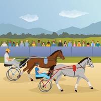 hästsport platt komposition vektor